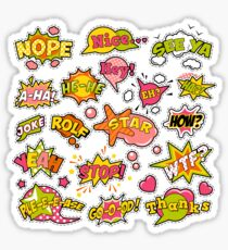Fashion Badges, Patches, Stickers in Pop Art Comic Speech Bubbles Set with Halftone Dotted Cool Shapes. Vector Retro Background Sticker