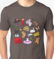 Ballet Stickers, Badges, Patches Set with Theater Elements. Vector Doodle Unisex T-Shirt