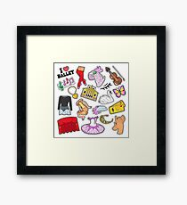 Ballet Stickers, Badges, Patches Set with Theater Elements. Vector Doodle Framed Print