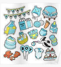 Baby Shower Boy Stickers, Badges, Patches for Birthday Party Decoration. Vector Doodle Poster