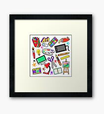 Art Creativity Badges, Stickers, Patches with Paints and Design Tools. Vector Doodle Framed Print
