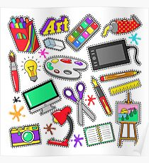 Art Creativity Badges, Stickers, Patches with Paints and Design Tools. Vector Doodle Poster