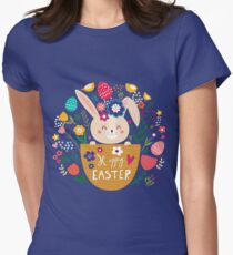 Bunny In A Basket Easter  Womens Fitted T-Shirt