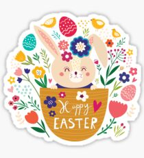 Bunny In A Basket Easter  Sticker