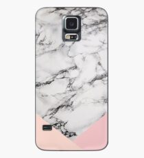 White Marble pattern with pink Triangles Case/Skin for Samsung Galaxy
