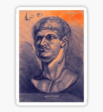 Drawing portrait of male ancient figure Sticker