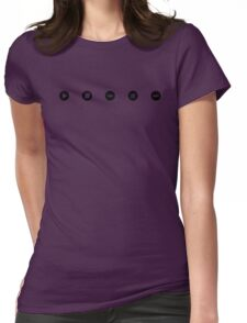 Tiny Music Player Icons Polka Dots (Black on White) Womens Fitted T-Shirt
