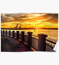 Sunrise at the harbor Poster