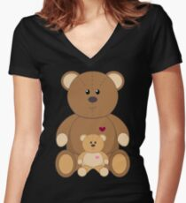 TWO TEDDY BEARS Women's Fitted V-Neck T-Shirt