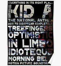 Radiohead - Kid A Album Song List Design #2 Poster