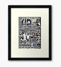 Radiohead - Kid A Album Song List Design #3 Framed Print