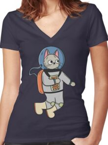 Catstronaut, the Astronaut Cat Women's Fitted V-Neck T-Shirt