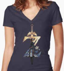 Breath Of The Wild Z Link Cover Women's Fitted V-Neck T-Shirt