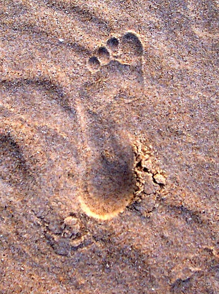 foot print in the sand by caity