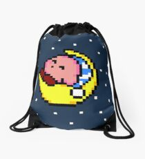 Sleepy Kirby - Pixel Art  Drawstring Bag