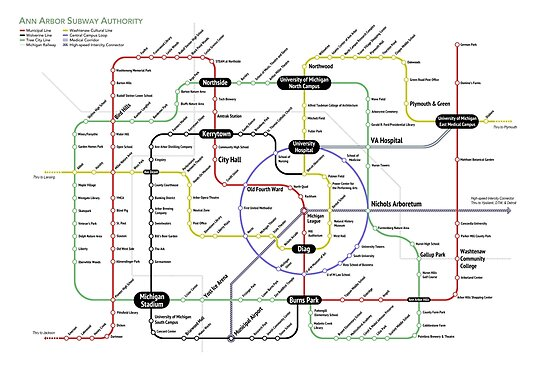 Ann Arbor Subway Map by A2SubwayMap