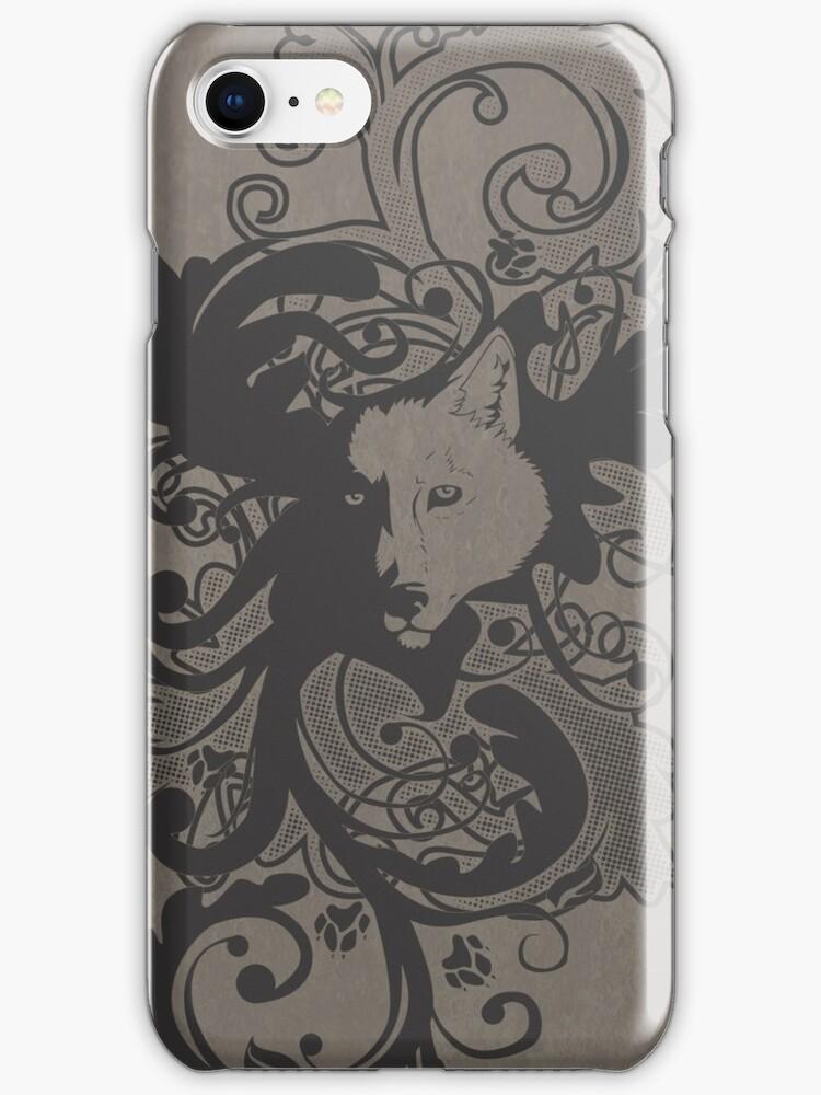 Wolf Floral in Grey by Zhivago