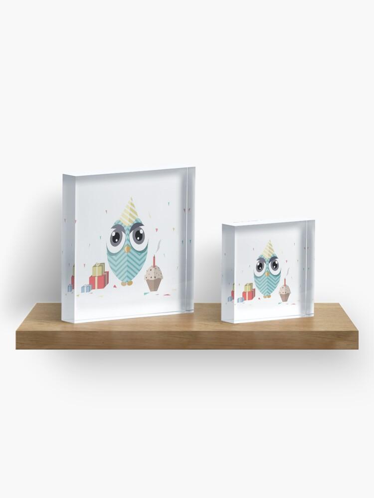 Alternate view of Happy Birthday Owl Acrylic Block