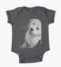 A Puppy Saying Hello Light Black and White One Piece - Short Sleeve