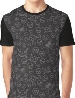 Black and Grey Skull & Crossbones Surface Pattern Graphic T-Shirt