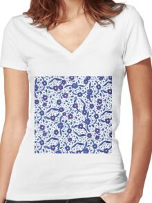 Blue and White Florals in Gouache Women's Fitted V-Neck T-Shirt