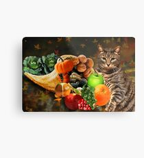 TABBY CAT WITH HORN OF PLENTY FALL PICTURE AND OR CARD Metal Print