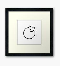 Minimal cat (white) Framed Print