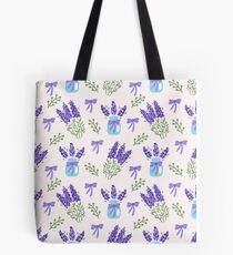Watercolor pattern of lavender with bows Tote Bag