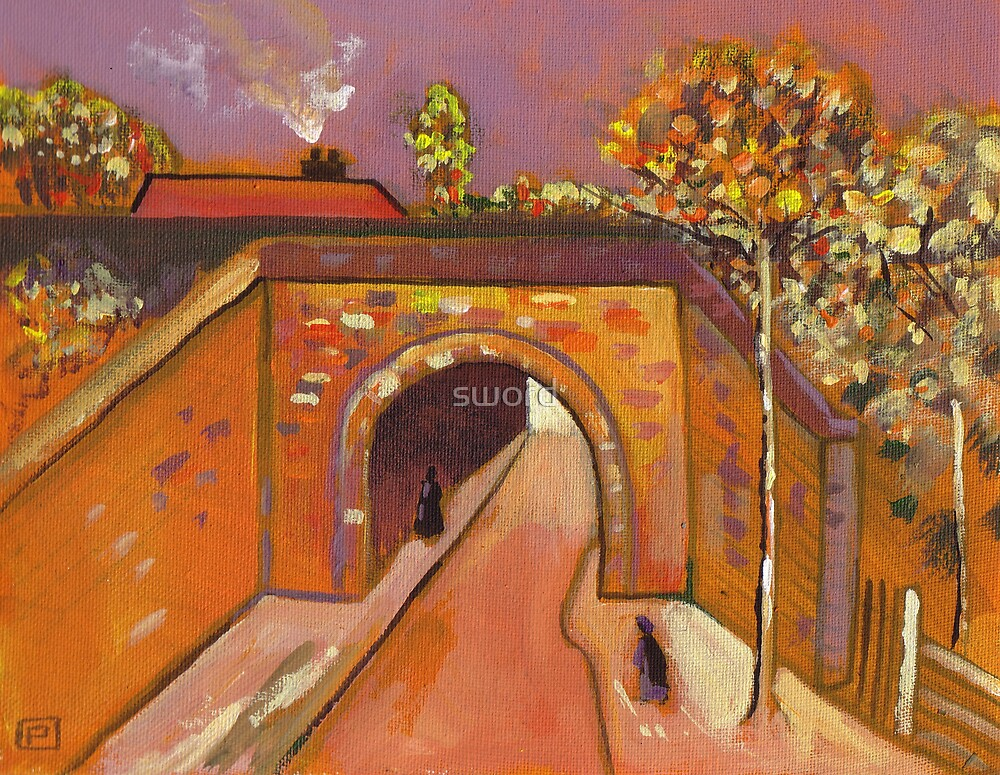 Roadway with underpass (from my original acrylic painting) by sword