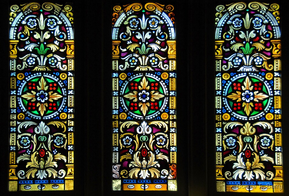 Stained Glass Trio by Bonnie T.  Barry