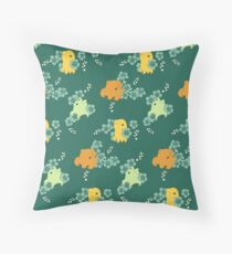 Floral Flapjacks - Forest Green Throw Pillow