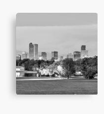 Denver City Skyline in Black and White Canvas Print