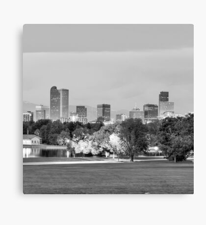 Denver City Skyline in Black and White Canvas Print
