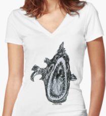 Bio Hazard Fish Women's Fitted V-Neck T-Shirt