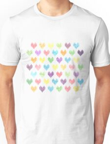 Colorful Knitted Hearts Unisex T-Shirt