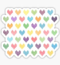 Colorful Knitted Hearts Sticker