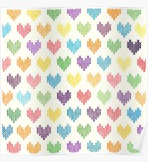 Colorful Knitted Hearts Poster