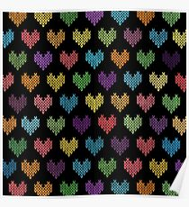 Colorful Knitted Hearts II Poster
