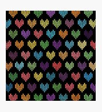 Colorful Knitted Hearts II Photographic Print