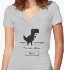 Offline Dinosaur Women's Fitted V-Neck T-Shirt