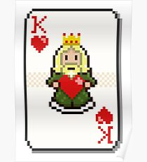 Pixel King of Hearts Poster
