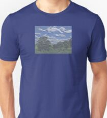 Unique Etched Texture Style Tree Filled Landscape and Clouds T-Shirt