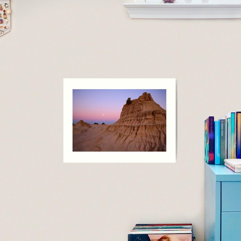 "Moonrise over the ""Walls Of China"", Mungo National Park, Australia Art Print"