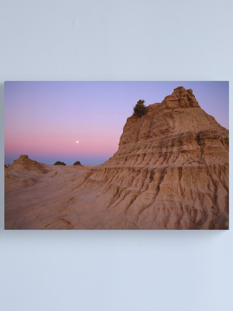 """Alternate view of Moonrise over the """"Walls Of China"""", Mungo National Park, Australia Canvas Print"""