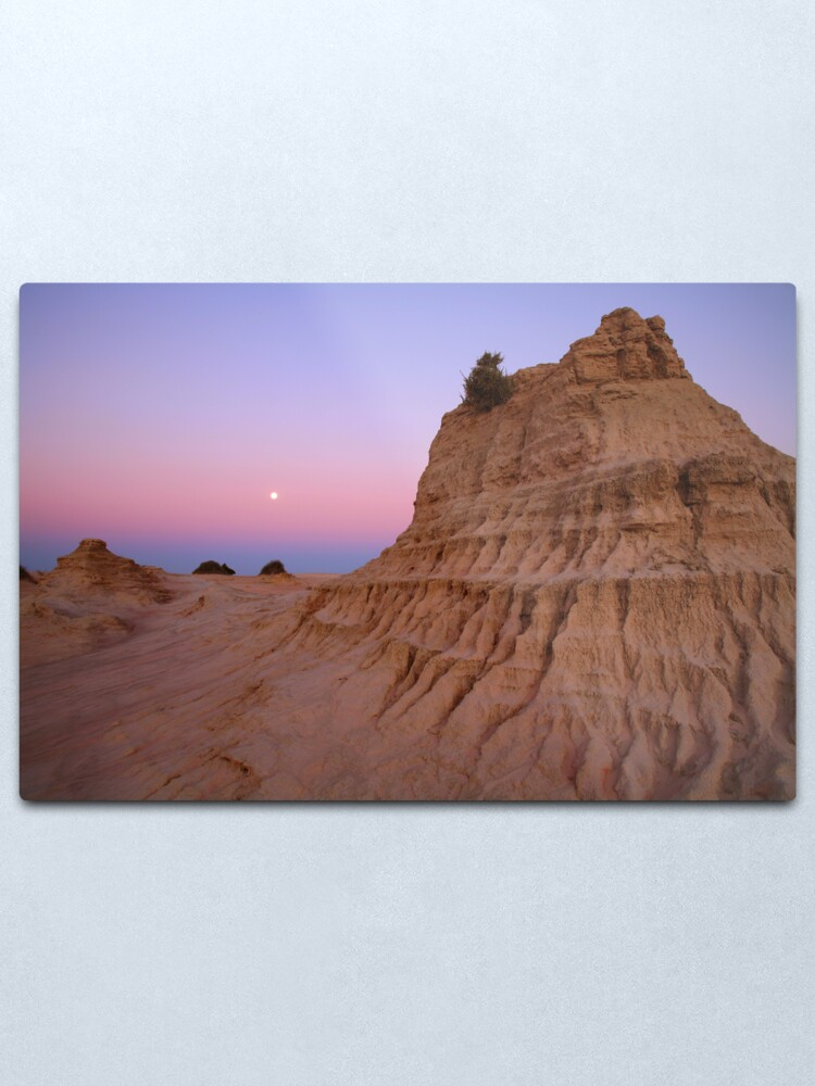 """Alternate view of Moonrise over the """"Walls Of China"""", Mungo National Park, Australia Metal Print"""