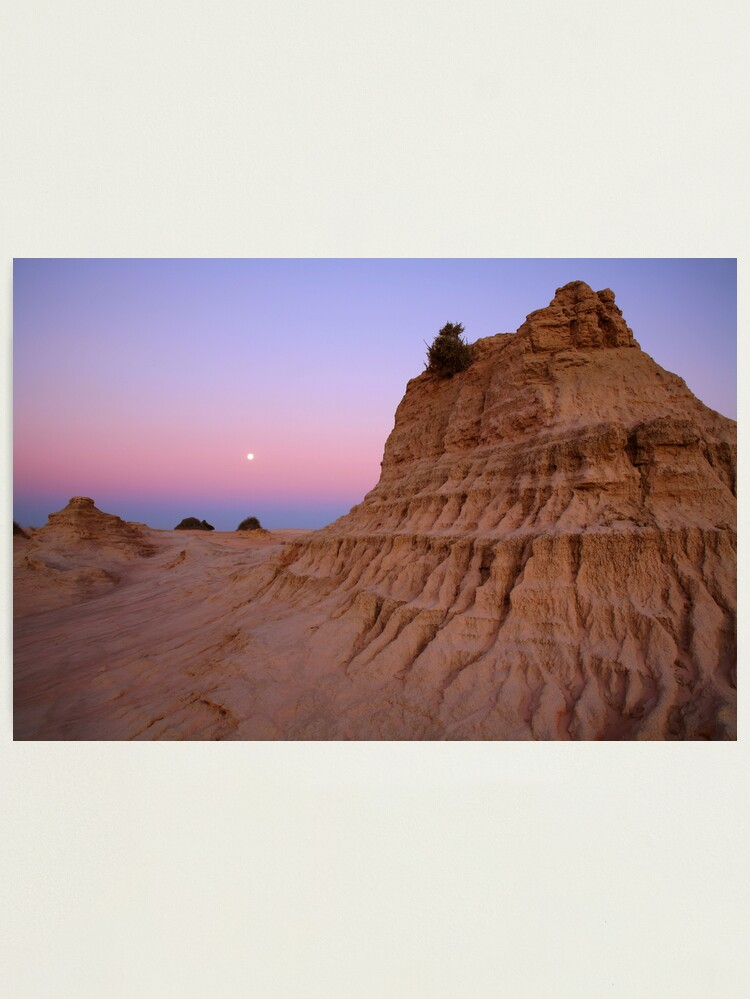 """Alternate view of Moonrise over the """"Walls Of China"""", Mungo National Park, Australia Photographic Print"""