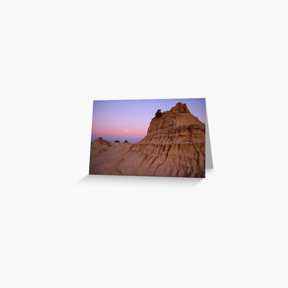 "Moonrise over the ""Walls Of China"", Mungo National Park, Australia Greeting Card"