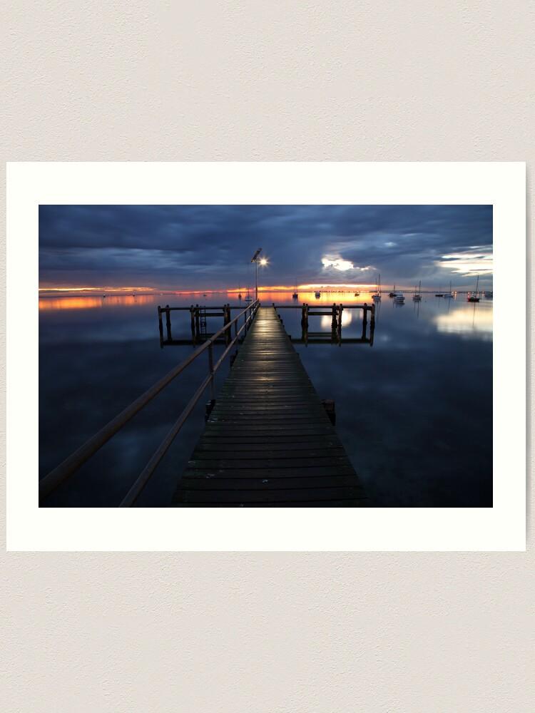 Alternate view of A Winter's Dawn on the Pier, Australia Art Print