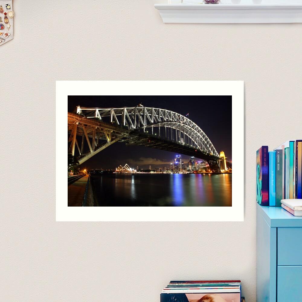 Sydney Harbour Bridge at Night, Australia Art Print