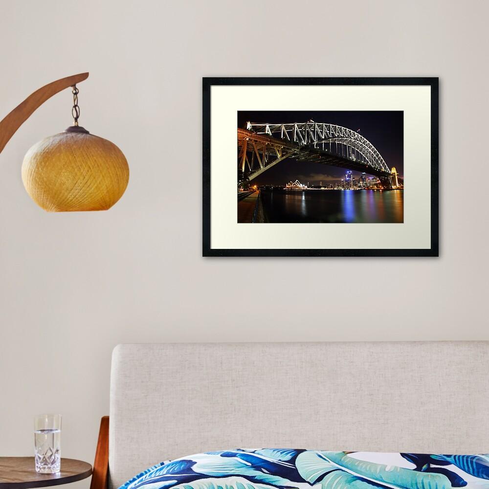 Sydney Harbour Bridge at Night, Australia Framed Art Print